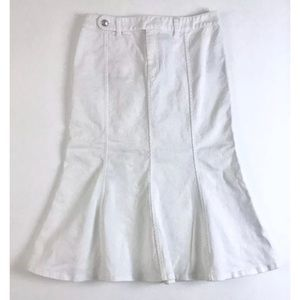 RALPH LAUREN White Denim Fit Flare Jean Skirt